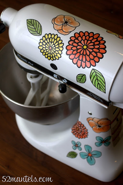 Custom KitchenAid Mixer featured by top US life and style blog, DYNES DESIGNS: Martha Stewart Clings to decorate your mixer