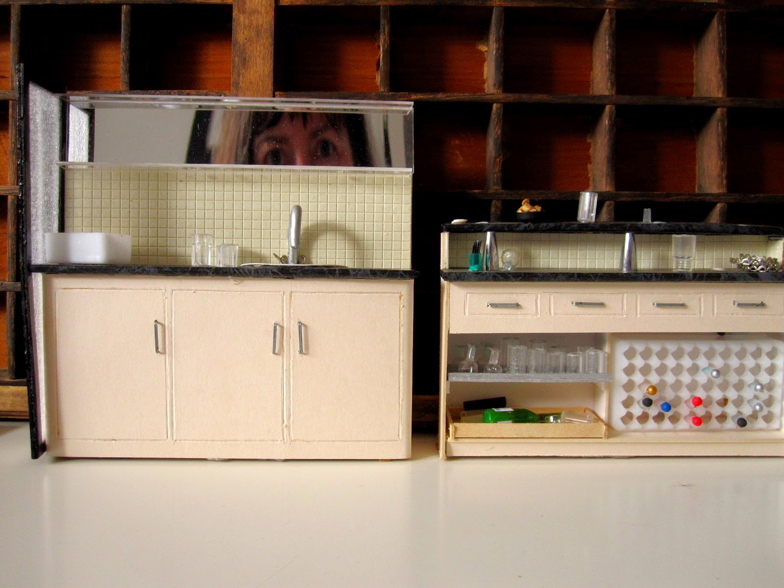 Modern miniature pub counter and sink unit.