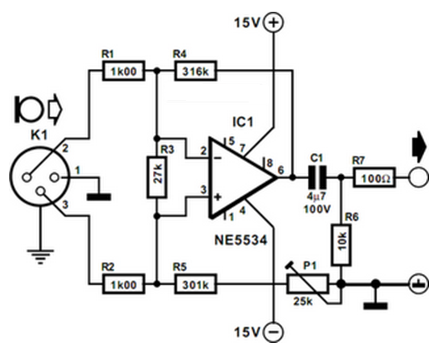 balanced microphone preamplifier