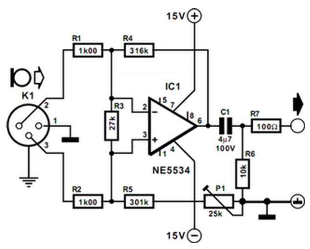 balanced microphone amplifier