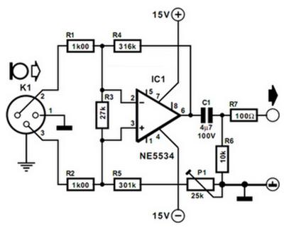 Balanced Microphone Preamplifier ~ Electro Circuit diaggram