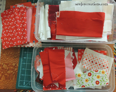 keeping fabrics sorted to ensure variety in quilt blocks