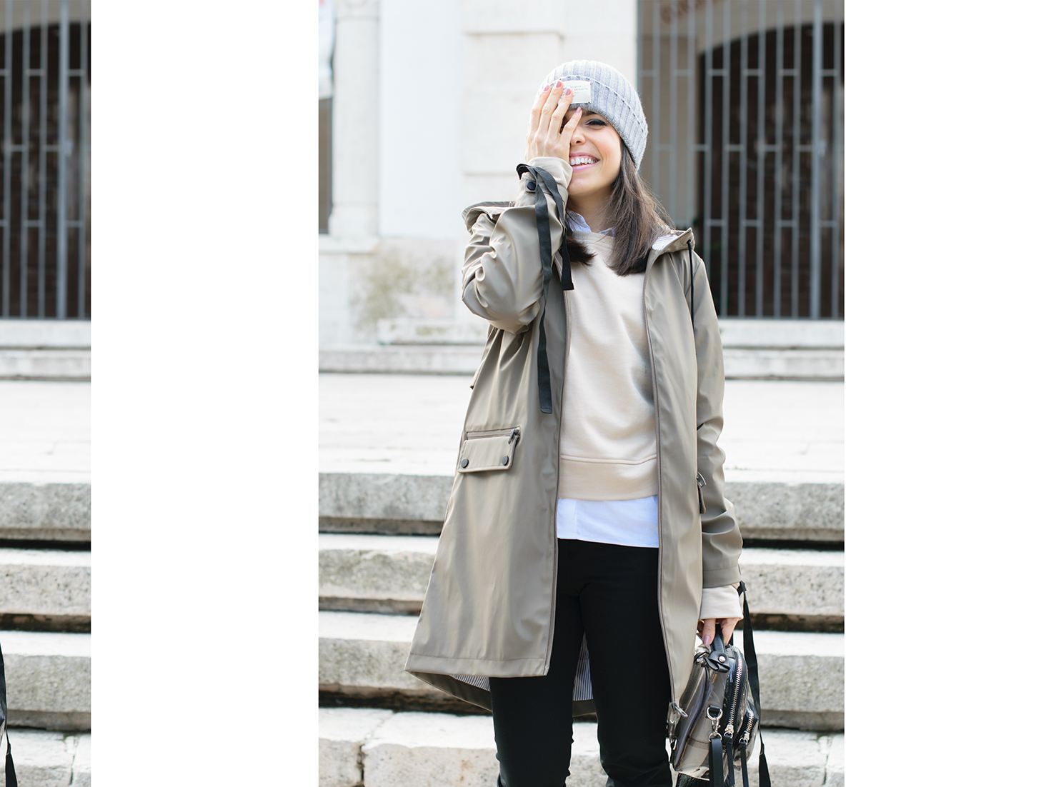 Look con sudadera de cintas de Zara