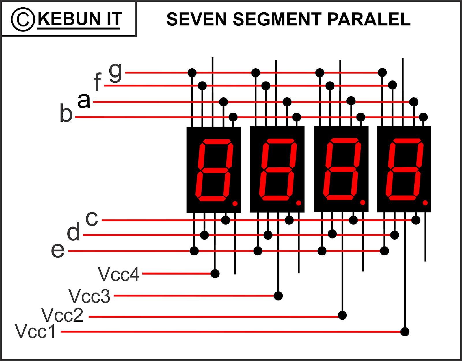 Kebun It Arduino 4 Seven Segment 1 Ic Shift Register Registers 74ls164 Berikut Rangkaian Paralel