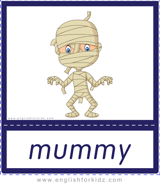 Mummy - Printable Halloween flashcards