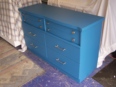 blonde dresser makeover with satin nickel hardware
