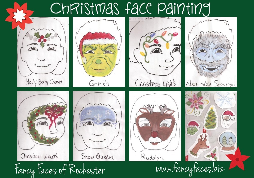 Christmas Facial.Fancy Faces Of Rochester Christmas Face Painting Designs