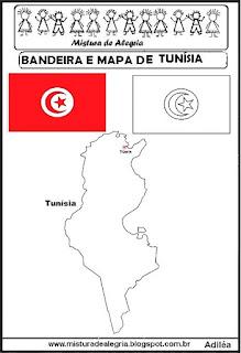 Bandeira e mapa da Tunísia