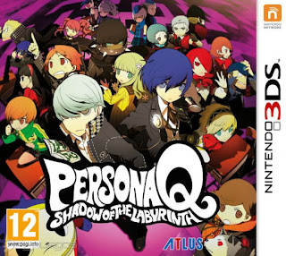 Portada del estuche del cartucho de  Persona Q: Shadow of the Labyrinth para Nintendo 3DS, 2014, Atlus