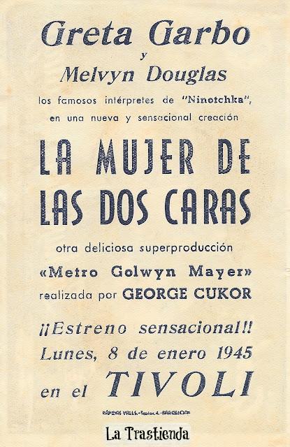 Programa de Cine - La Mujer de las Dos Caras - Greta Garbo - Melvyn Douglas