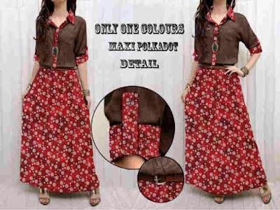 Jual Maxi Dress Maxi Dress Red Polkadot - 12506