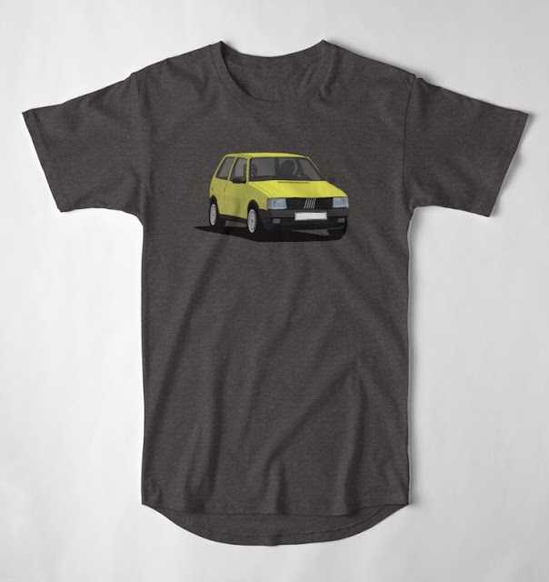 Fiat Uno mk1 (Type 146) T-shirts yellow