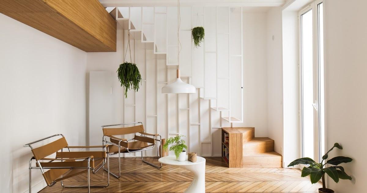 Appartamento a Parigi con scala in metallo sottile e cucina verde scuro  ARC ART blog by