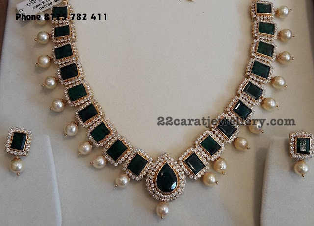 CZ Emerald Necklace with Tops