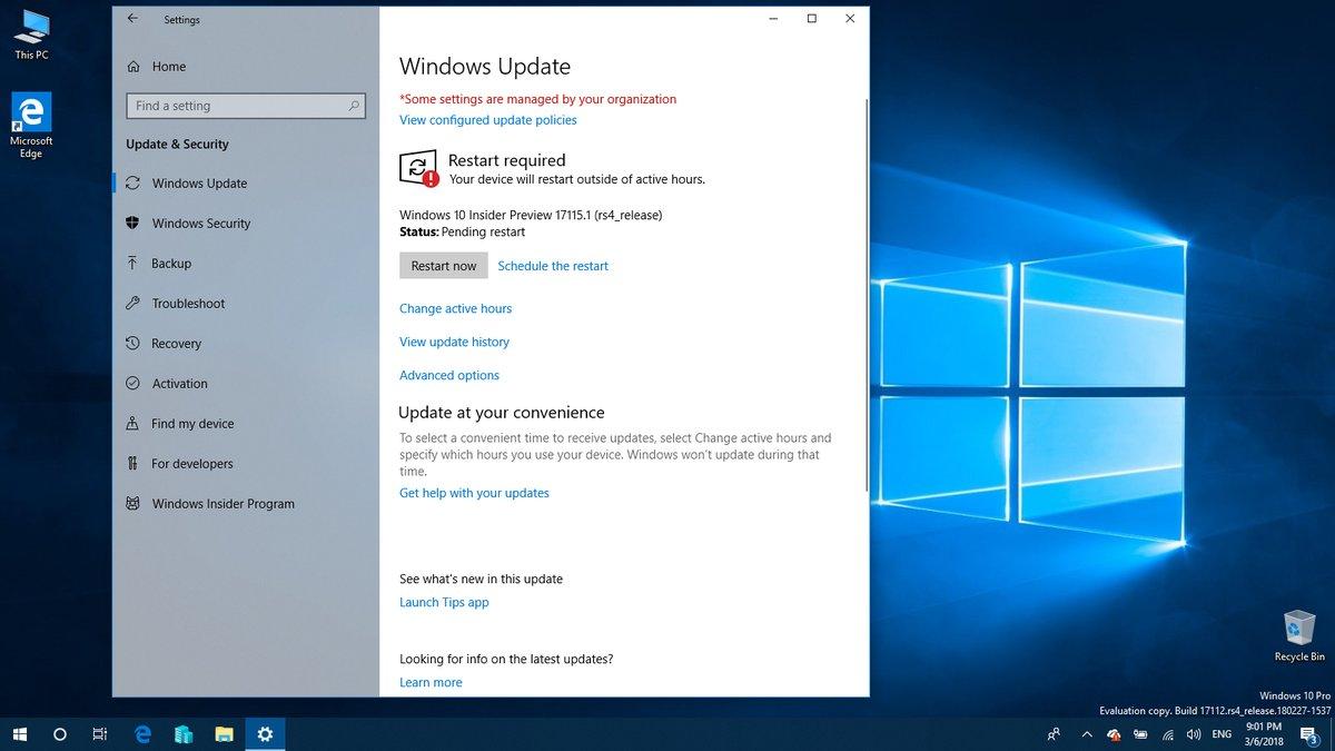 Update Windows Insder Build 17115