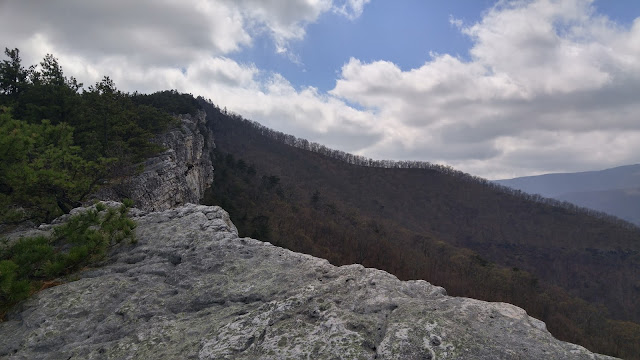 Photo from a rocky outcrop looking south along the crest of North Fork Mountain, West Virginia
