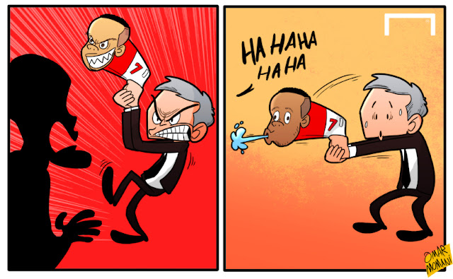 Memphis Depay and Mourinho cartoon