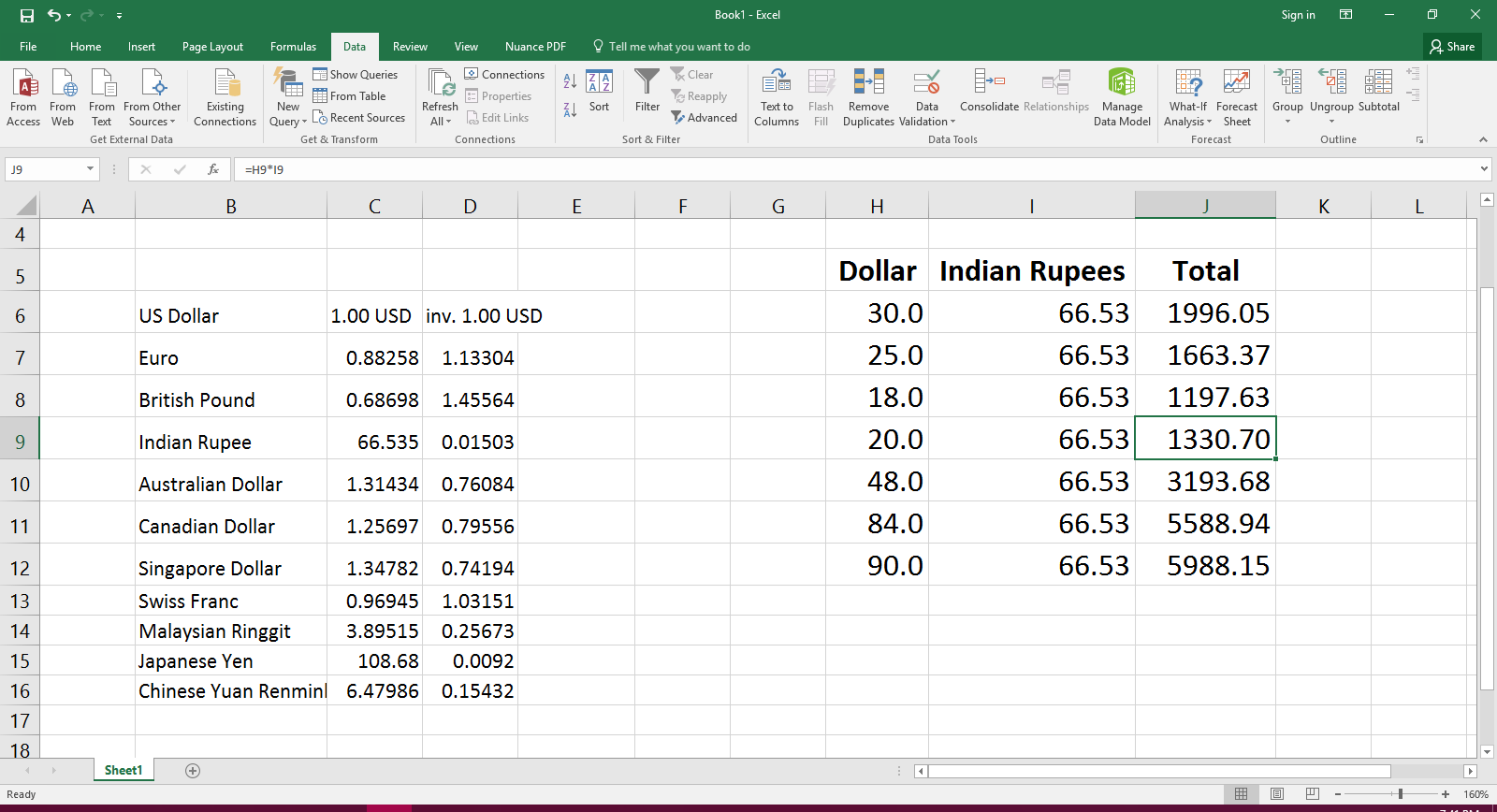 Dollars To Indian Rus Real Time Currency Converter For Ms Excel