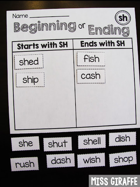 SH words that start with SH or end with SH sort and so many more digraphs ideas