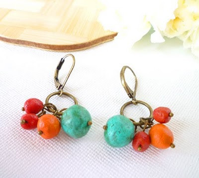 red, turqouise, and orange recycled paper bead earrings