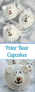 polar bear cupcakes using a marshmallow and mini smartie for a nose