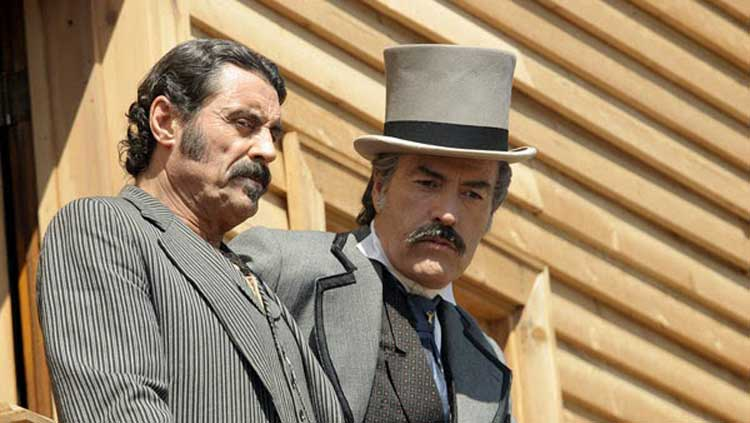 Ian McShane as Al Swearengen and Powers Boothe on Deadwood