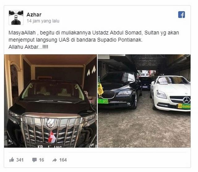 Ditolak Di Jawa, Di Pontianak UAS di Sambut Bak Raja Dengan Kendaraan Khusus