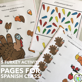 Thanksgiving Turkey Activity Pages for Spanish Class