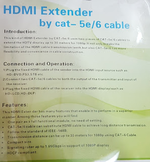 HDMI EXTENDER by cat-5e/6 cable 30M supported