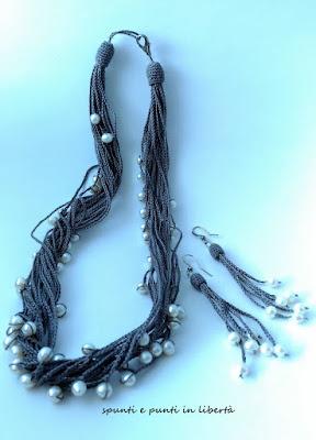 collana orecchini crochet