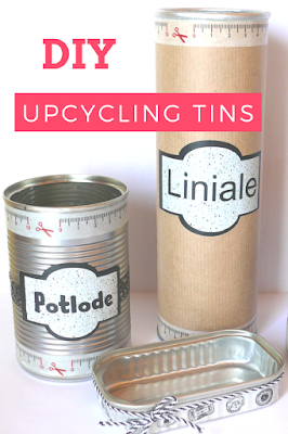Upcycling stationary organiser, DIY, tins, washi tape, brown paper, labels, vinyl, classroom, Eccentric Eclectic Studio, Yana Fourie, Blogger