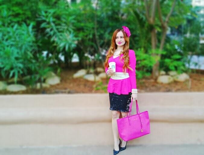 Pink Peplum Top, Zara Black & Silver Sequin Skirt, Micheal Kors Bag
