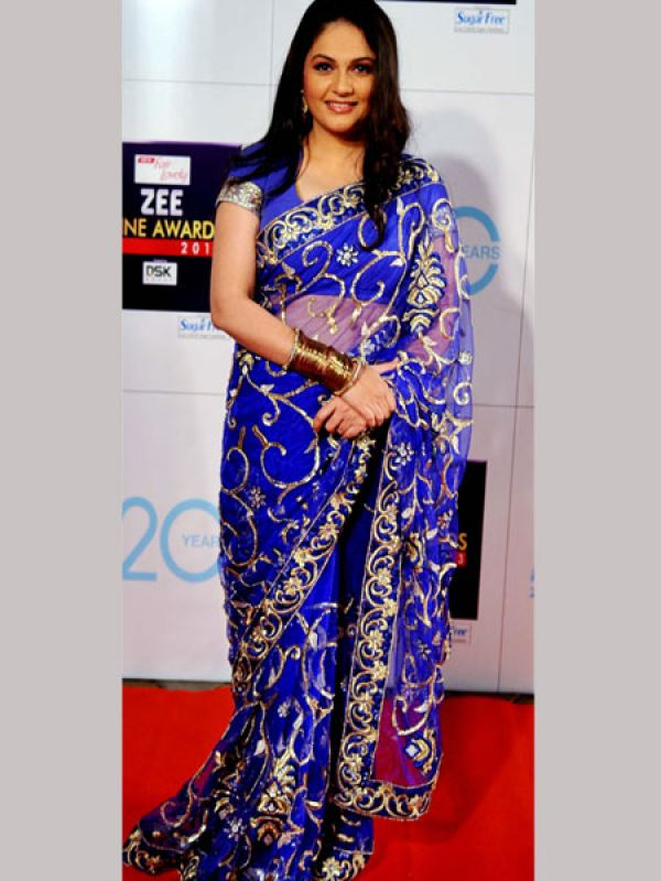 Bollywood Actress Gracy Singh Photo Shoot In Blue Saree