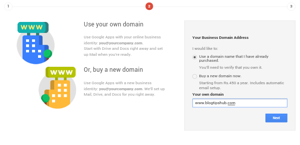 Add domain in google apps sign up