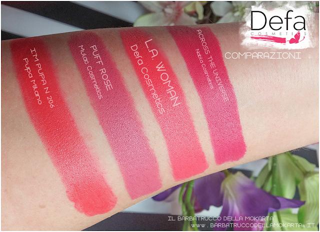 l.a. woman comparazioni Defa cosmetics lipstick