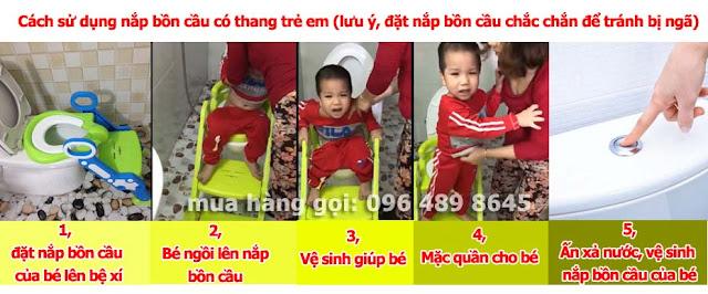Cách dùng nắp bồn cầu ngồi toilet cho bé loại có thang và tay vịn