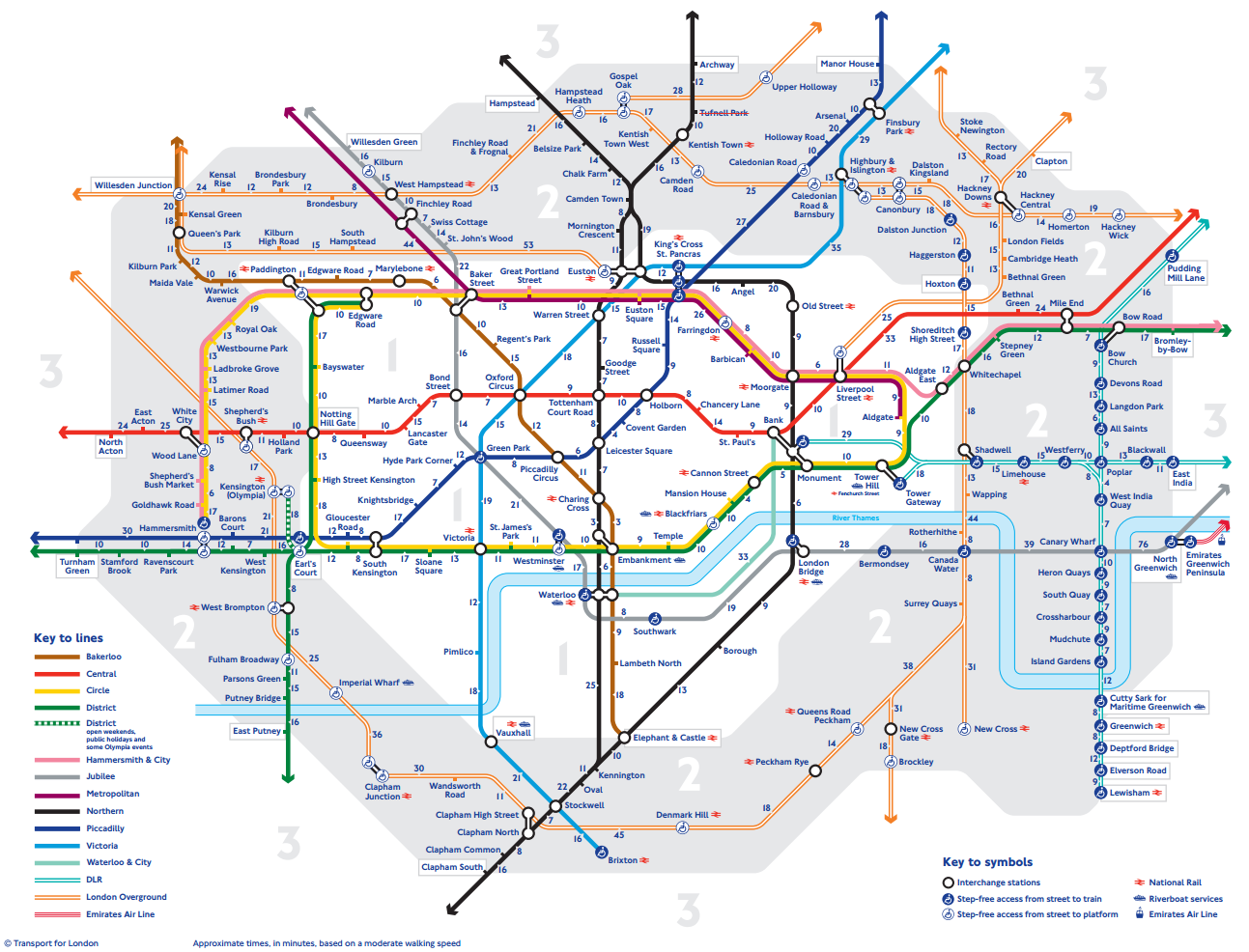 New London tube map shows walking times between stations