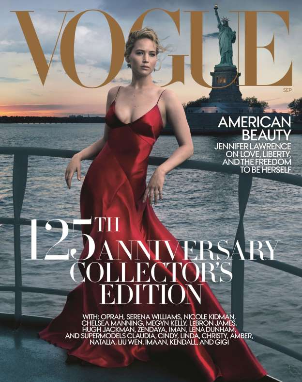 Jennifer Lawrence is Vogue's Cover Star for September 2017 Issue as it celebrates 125th Anniversary