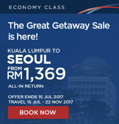 Malaysia Airlines Flight Ticket Discount Promo KL Seoul