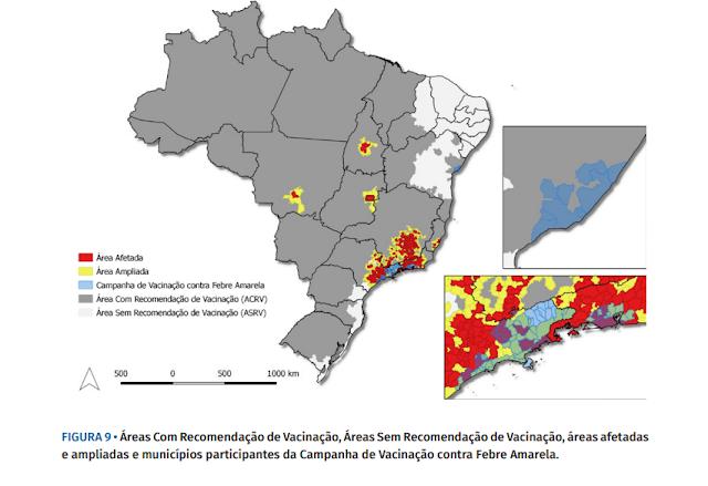FIGURA 9 • Áreas Com Recomendação de Vacinação, Áreas Sem Recomendação de Vacinação, áreas afetadas e ampliadas e municípios participantes da Campanha de Vacinação contra Febre Amarela.