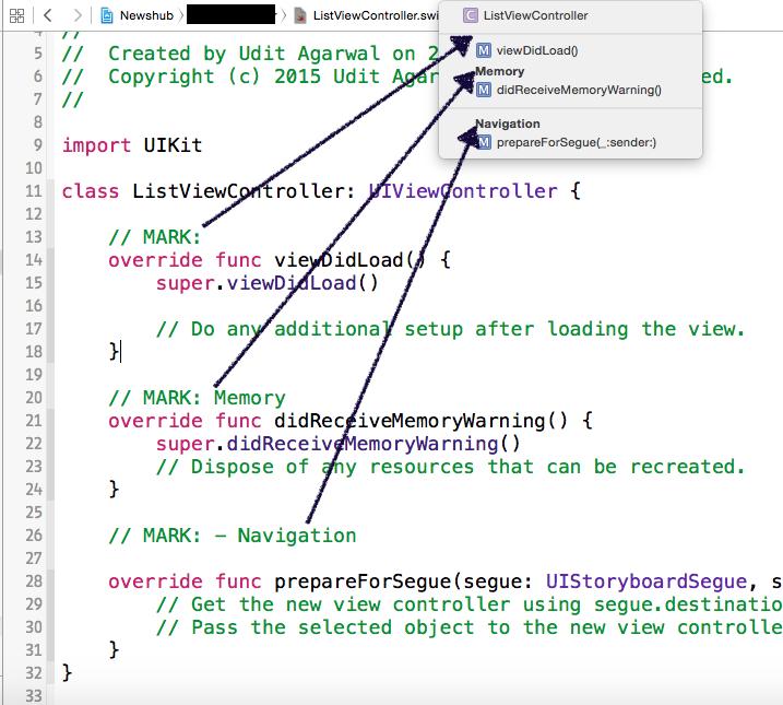 Pragma mark (#pragma mark of Objective-C) in Swift   Software anomalies