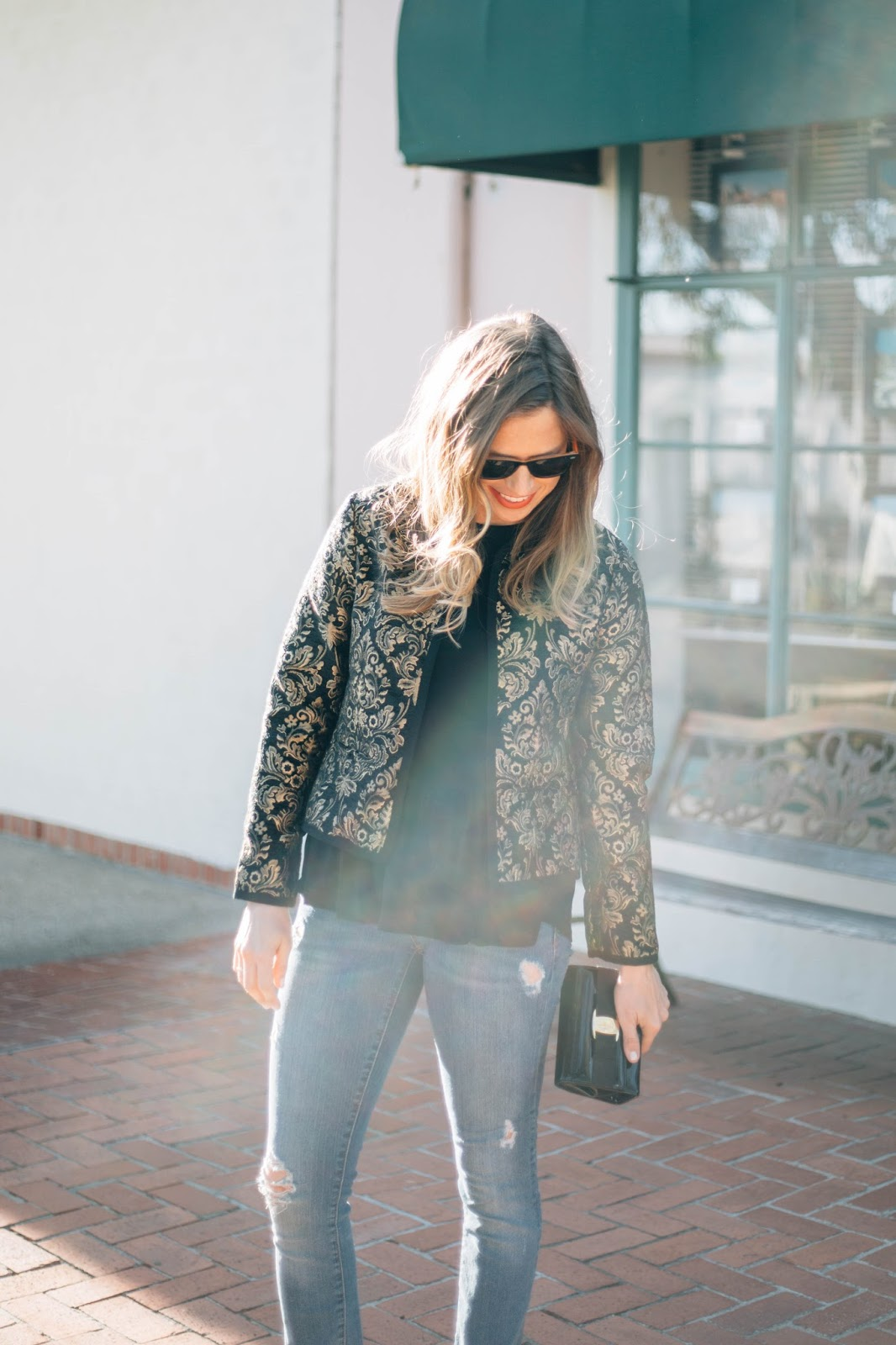 black and gold jacket outfit
