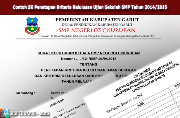 Contoh SK Penetapan Kriteria Kelulusan Ujian Sekolah SMP Tahun 2014/2015