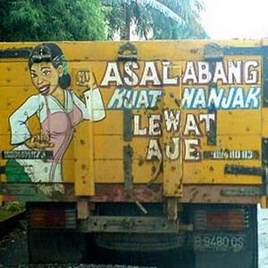 Gambar DP Bbm Tulisan Belakang truk asal abang kuat