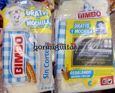 Mochila nombre Bimbo gratis