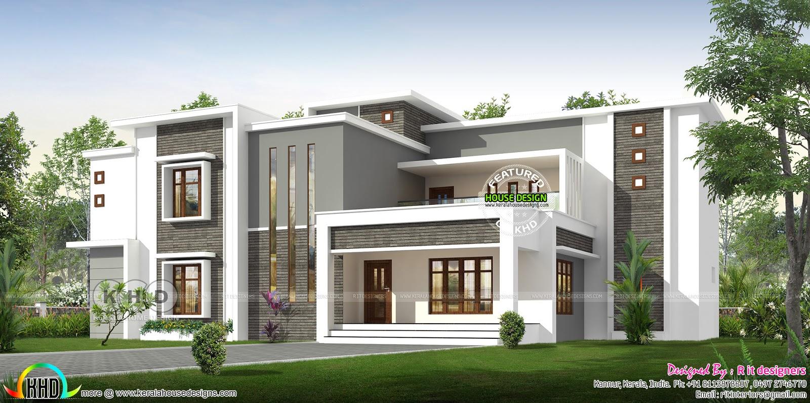 Luxury Flat Roof 6 Bedroom House Rendering Kerala Home Design Bloglovin