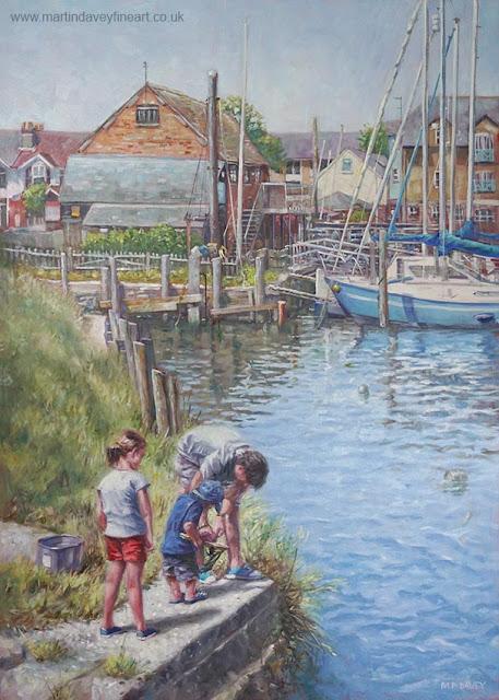 M P Davey landscape eling marina family fishing art