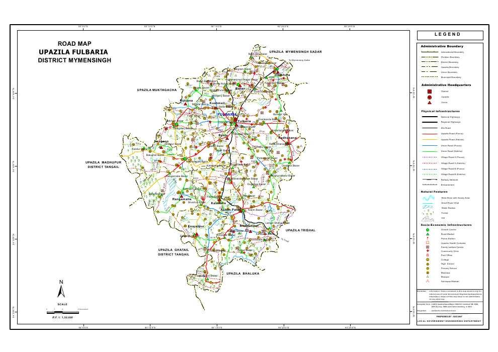 Fulbaria Upazila Road Map Mymensingh District Bangladesh