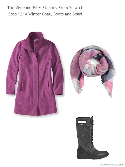 a bright orchid wool coat, with coordinating scarf and warm wool boots, to add to a capsule wardrobe