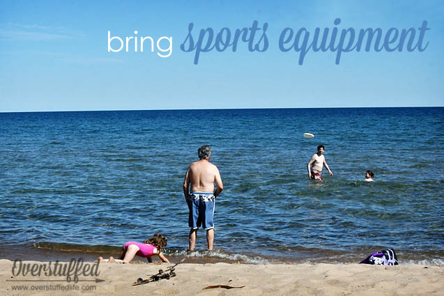 If you're spending the day at the beach, be prepared with lots of sports equipment to make it fun!